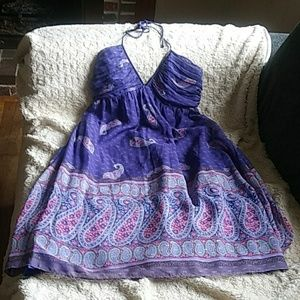 Shoshanna Purple Paisley Silk Halter Dress Sz 4